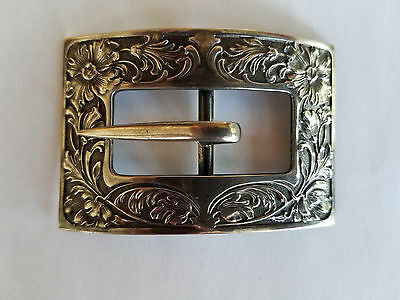 Antique Unger Brothers Sterling Silver Victorian Belt Buckle Floral & Scroll