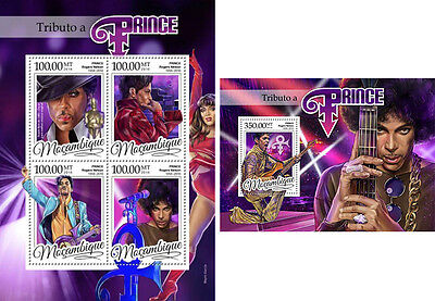 Prince Rogers Nelson Pop Music Purple Rain Mozambique MNH stamp set 2 sheets