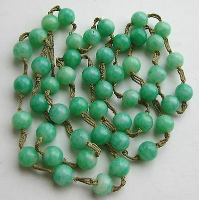 Fine Old Chinese Hand Knotted Jade Green Peking Glass Bead Long Necklace