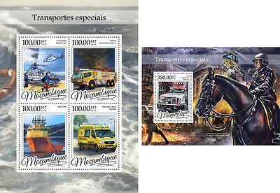 Special Transport Cars Helicopters Horses Ships Mozambique MNH stamp set