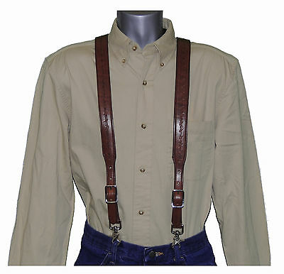 (3 DAY SALE) Brown Barbed Wire Leather Suspenders trigger scissor snaps