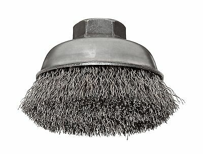 """Weiler Wire Cup Brush Threaded Hole Stainless Steel 302 Crimped Wire 3-1/2"""" D..."""