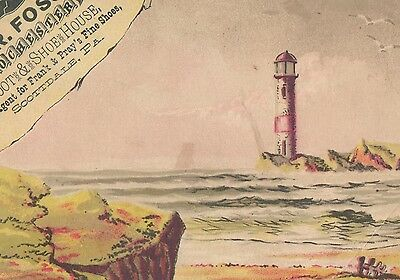 Victorian TradeCard ROCHESTER BOOT & SHOE HOUSE Scottdale, Pa Beach & Lighthouse