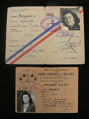 WWII French Resistance Female Fighter - Two Post-War Identity Cards c.1947-8