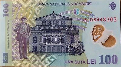 Romania - Unc 100 Lei Banknote Issued 2005 (2015) Polymer #p121 Free Shipping