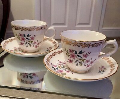 Royal Grafton Cup And Saucer Set X2, Floral, Gold Detailing