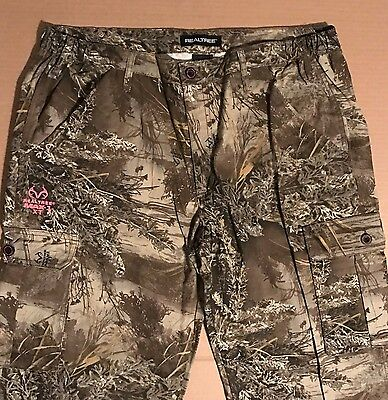 REALTREE MAX-1 XT Camo Cargo Pants Forest Hunting Draw Cord Leg Womens S-2XL New