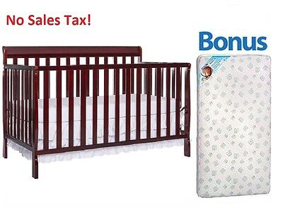Convertible Baby Crib 4-in-1 With Bonus Mattress Alissa Toddler Kid Nursery Bed