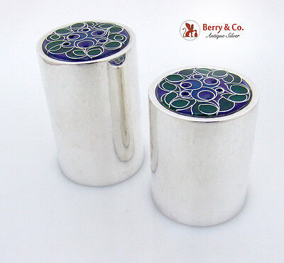 Floral Enamel Salt And Pepper Shakers Sterling Silver ONC 1970