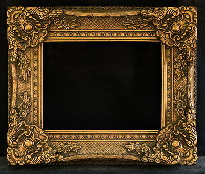 """Antique Reproduction Ornate Gold Frame 12"""" x 16"""", 4"""" Wide, 3"""" Thick"""