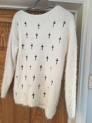 Misguided Ladies White Fluffy Jumper Size 10/12