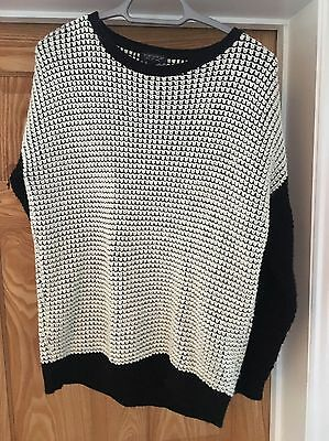 Topshop White And Black Sweater/Jumper Size 6