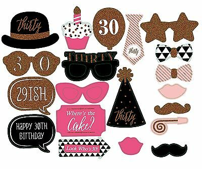 20 Pcs 30th Birthday Party Props Selfie Photo Booth Favour DIY Kit Pink Gold