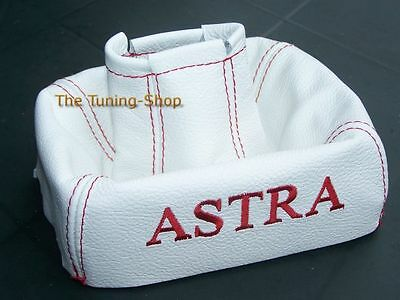 For Vauxhall Opel Astra F Mk3 91-98 Gear Gaiter Cover White Leather Red Stitch