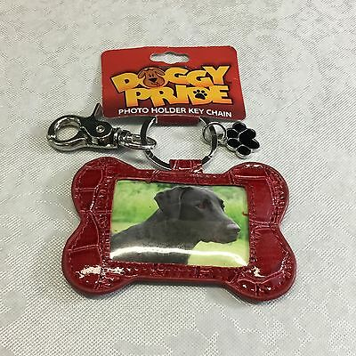 NEW ~ RED Patent Leather Dog Bone Photo Holder Key Chain Ring by Doggy Pride