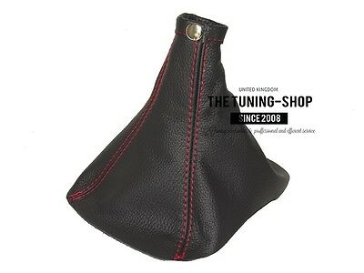 For Vauxhall Opel Insignia 2008-15 Manual Gear Gaiter Black Leather Red Stitch