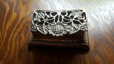 1920s art nouveau solid brass stamp/ paperclip box