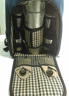 Picnic Insulated Backpack For 2 Thermos Cups Canisters Spoons Napkins Coffee Tea