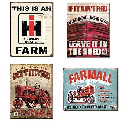 Farm Signs Vintage Bundle - IH Farm, Farmall - If it Ain't Red, Farmall - Suc...
