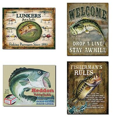 Vintage Decorative Fishing Tin Sign Bundle - Lunker's Lures Bait and Tackle, ...