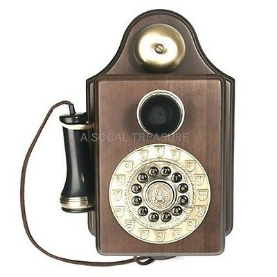 Vintage Wall Phone Old Fashioned Wooden Telephone Corded Antique Rotary 1903 REP