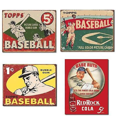 Vintage Baseball Tin Sign Bundle - Topps Baseball 1955 Picture Cards Bubble G...
