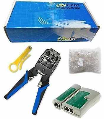 UbiGear® Network Cable Tester + Crimper +100 CAT5e RJ45 Connector Plug Tool Kits
