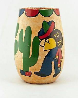 Bauer Vintage c.1938 Fred Johnson Hi-Fire Vase Olvera St. Hand-Painted Mexicana
