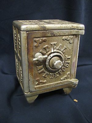 Antique Ideal Cast Iron Toy Safe Still Dime Bank Victorian Toy Pat Appl For