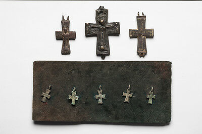 A Collection of 8 Ancient Reliquary and small Byzantine Bronze Crosses C. 900 AD