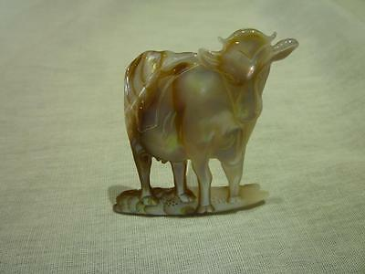 D63 Mother of Pearl Carved Cow.