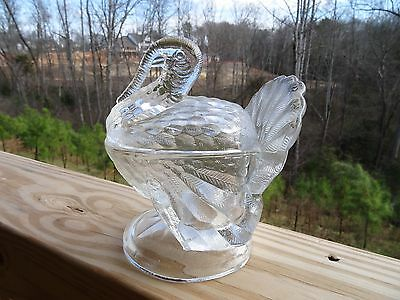 "Clear Art Glass Covered TURKEY ON NEST BOX Candy Dish CLEAR  7.25"" Tall"