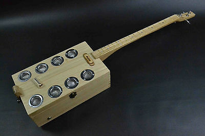 Wooden Jewellery Box Upcycled Handmade 3 String Cigar Box Guitar Dual Pick Up