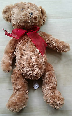 Brown Teddy Bear With Red Bow - Height 17In