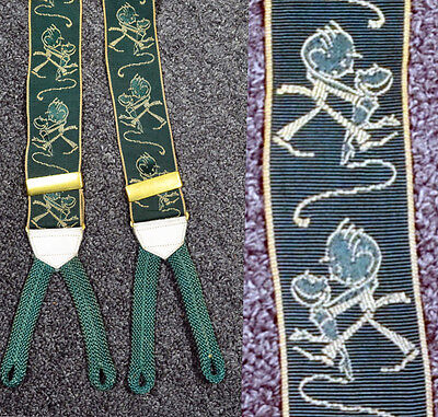 JOHN HELD JR ART DECO AUTHENTIC 20s Vintage PIONEER SUSPENDERS_Button On BRACES