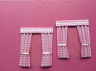 "2 Pink gingham dolls house curtains  3.5"" X 4"""