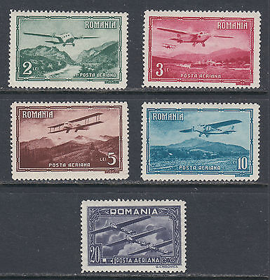 Romania C17-C21 VF LH 1931 Airmail Set of Five Stamps Monoplanes & Biplanes