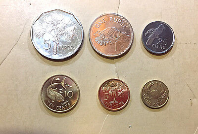 Seychelles 6-Coin Set Unc 2004-2012 1 Cent To 5 Rupees