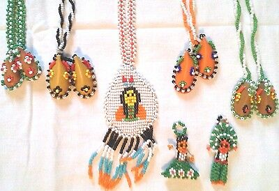 Vintage Seed Bead Moccasins, Indian Necklace's & Woman Man Figures Handmade