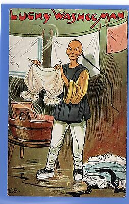 SUPER 1910c LUCKY CHINESE LAUNDRY MAN LADIES PANTS BLOOMERS VINTAGE POSTCARD