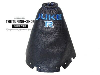 """For Nissan JUKE 2010-15 Gear Stick Gaiter Leather """"JUKE R"""" Blue Embroidery"""