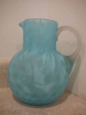 Antique Blue White Spatter Satin Art Glass Pitcher Applied Handle Hand Blown