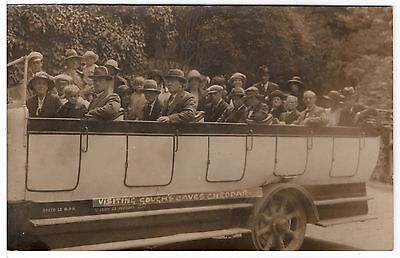 Goughs Cave Cheddar Tourist Charabanc and Passengers Old Real Photo Postcard