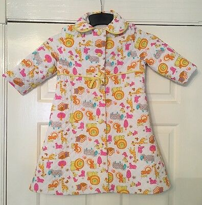 Vintage 1970s St Michael Childrens Age 3-4 Quilted Dressing Gown *bright animals