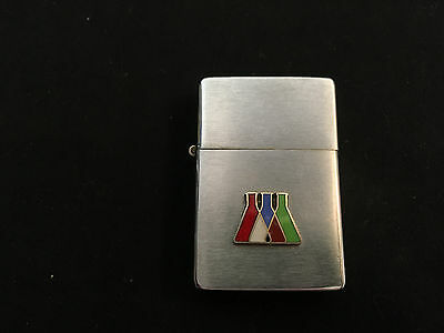 PARK Cigarette Lighter Made In USA Designed With Beakers On Front Silver Tone