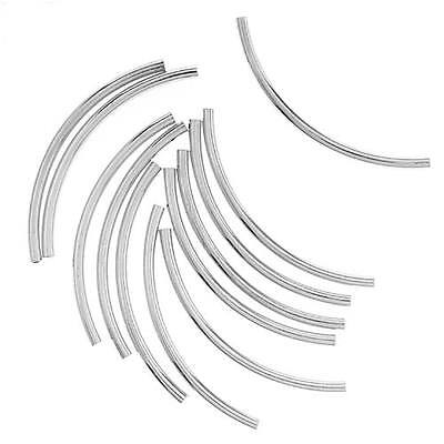 Silver Plated Curved Noodle Tube Beads 2mm X 38mm (12)