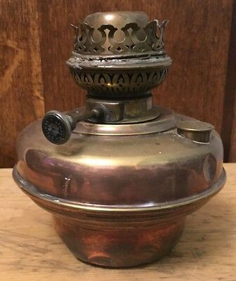 Antique Victorian Veritas Copper / Brass  Oil Lamp Base Burner