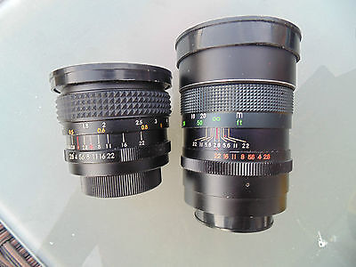 2 Vintage Pallas Lenses Lens M42 Screw Mount 28Mm Auto Wide Angle 135Mm 2.8