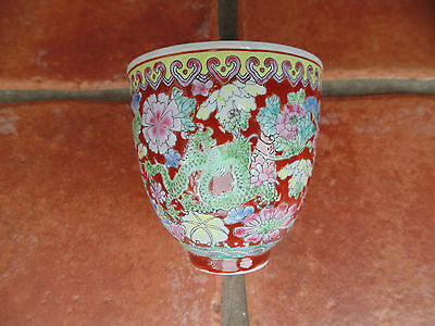 Antique Vintage Chinese Eggshell Danpi Porcelain Bowl Dragons Boxed Hand Painted