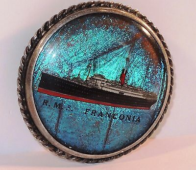 c.1923 SHIPTON CO. BLUE MORPHO R.M.S. FRANCONIA CUNARD LINER STERLING BROOCH PIN